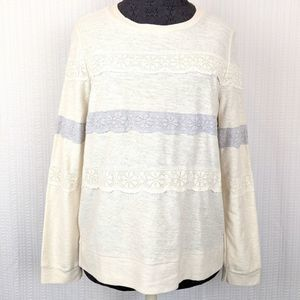 3/50% COMME TOI | Lace Striped Long Sleeve Med